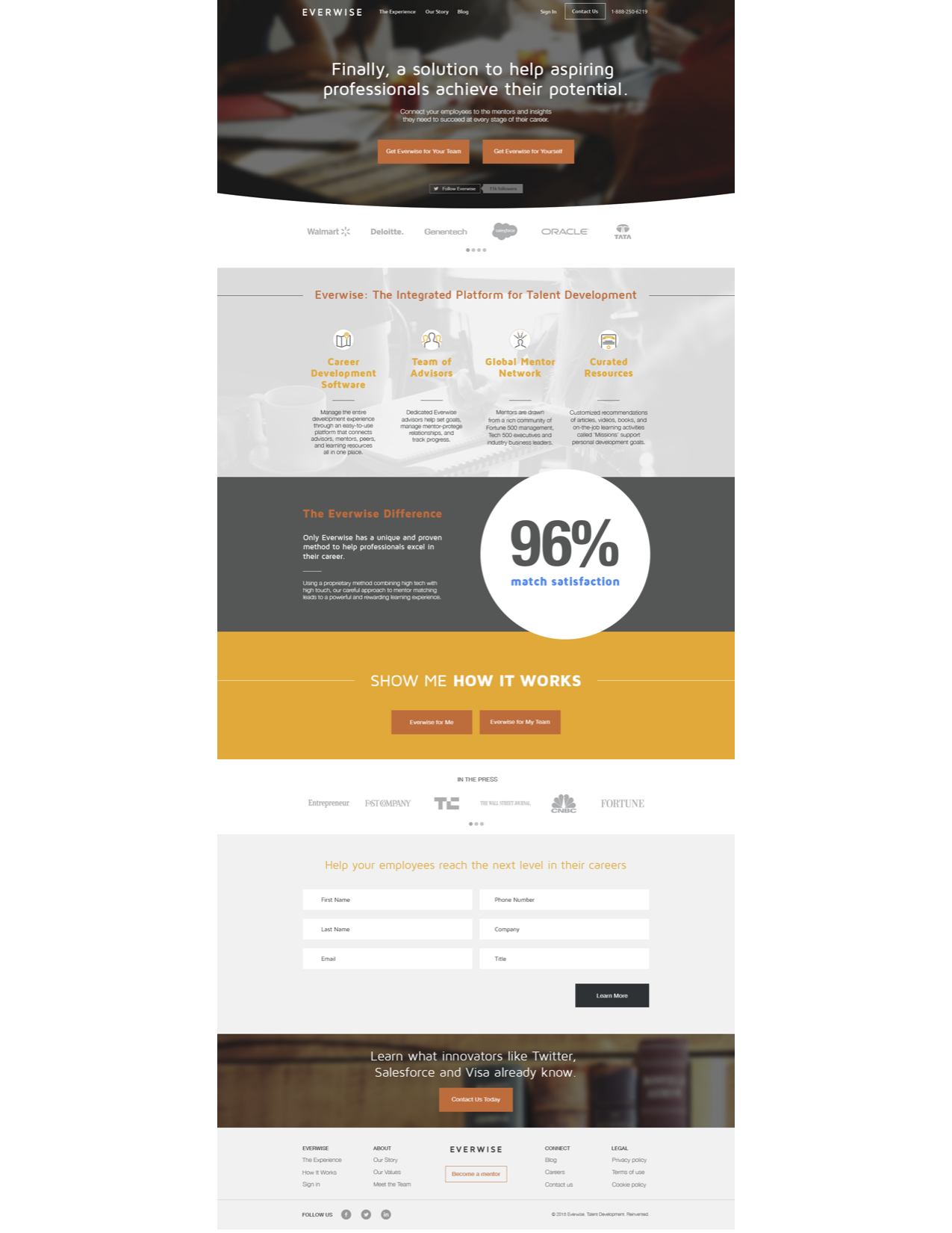Everwise landing page design